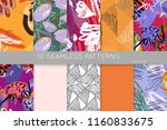 collection of seamless patterns.... | Shutterstock .eps vector #1160833675