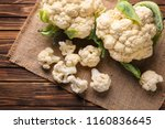 Fresh Cauliflower On Wooden...
