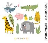 cartoon animals. cute wild... | Shutterstock .eps vector #1160854828