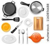 pan vector kitchenware or... | Shutterstock .eps vector #1160856688