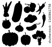 vegetables black silhouettes.... | Shutterstock .eps vector #1160861758