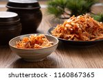 table top dried shrimp | Shutterstock . vector #1160867365