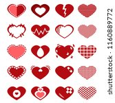 set of red heart icon and... | Shutterstock .eps vector #1160889772