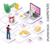 laptop with receipt  money ... | Shutterstock .eps vector #1160907655