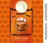 halloween poster design with... | Shutterstock .eps vector #1160916202