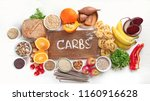 foods high in carbohydrates.... | Shutterstock . vector #1160916628