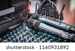 mic microphone and sound mixer... | Shutterstock . vector #1160931892