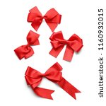 beautiful bows from red ribbons ...   Shutterstock . vector #1160932015