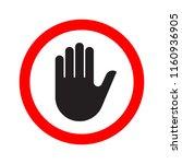 hand making a stop signal... | Shutterstock . vector #1160936905