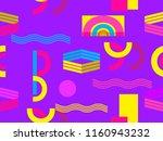 memphis seamless pattern....   Shutterstock .eps vector #1160943232
