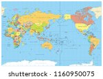 pacific centered world colored... | Shutterstock .eps vector #1160950075