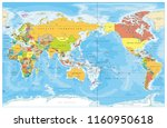 pacific centered world colored... | Shutterstock .eps vector #1160950618