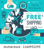 free shipping poster for online ... | Shutterstock .eps vector #1160952295