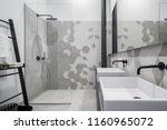 new design bathroom with shower ... | Shutterstock . vector #1160965072