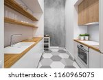 small  functional kitchen with... | Shutterstock . vector #1160965075