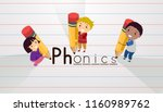 illustration of stickman kids... | Shutterstock .eps vector #1160989762