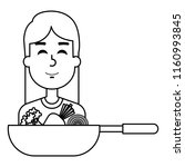 woman with pan cooking... | Shutterstock .eps vector #1160993845