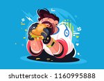 guy eating huge tasty burger.... | Shutterstock .eps vector #1160995888