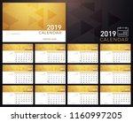 calendar golden planner 2019... | Shutterstock .eps vector #1160997205