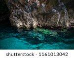 caves in zakynthos island ... | Shutterstock . vector #1161013042