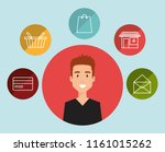 young man with social media... | Shutterstock .eps vector #1161015262