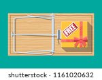 wooden mouse trap with gift box ... | Shutterstock .eps vector #1161020632