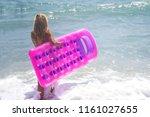 barefoot girl in blue bikini at ...   Shutterstock . vector #1161027655