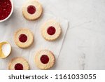 christmas cookies. linzer... | Shutterstock . vector #1161033055