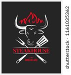 steakhouse logo with bull head... | Shutterstock .eps vector #1161035362