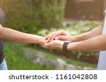 businessman with client holding ...   Shutterstock . vector #1161042808