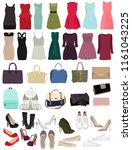 set  women's handbags  dresses  ... | Shutterstock .eps vector #1161043225
