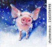 watercolor fluffy piglet on... | Shutterstock . vector #1161056998
