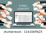 laptop with email and many... | Shutterstock .eps vector #1161069625