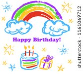 children's drawings. greeting...   Shutterstock .eps vector #1161069712