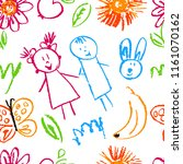 seamless pattern. draw pictures ... | Shutterstock .eps vector #1161070162