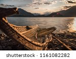 old solitary boat wood... | Shutterstock . vector #1161082282