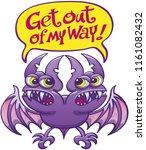 purple bat monster with green...   Shutterstock .eps vector #1161082432