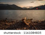 old solitary boat destroyed... | Shutterstock . vector #1161084835
