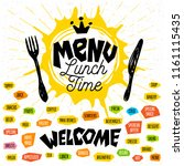 menu lunch time logo  fork ... | Shutterstock .eps vector #1161115435