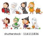 happy halloween. funny little... | Shutterstock .eps vector #116111836
