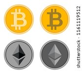 bitcoin gold coins and ethereum ... | Shutterstock .eps vector #1161119512