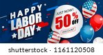 labor day 50 percent off sale... | Shutterstock .eps vector #1161120508