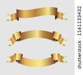 set of golden ribbons vector.   Shutterstock .eps vector #1161133432