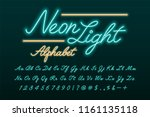 glowing turquoise and blue neon ... | Shutterstock .eps vector #1161135118