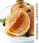 homemade morning pancakes peach ... | Shutterstock . vector #1161141172
