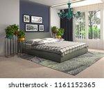 bedroom interior. 3d... | Shutterstock . vector #1161152365