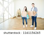 portrait of happy man and woman ... | Shutterstock . vector #1161156265
