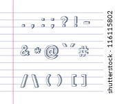 several hand drawn text symbols ... | Shutterstock .eps vector #116115802