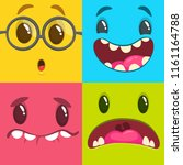 cartoon monster faces set.... | Shutterstock .eps vector #1161164788