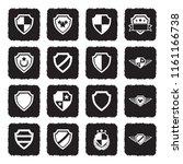 shield icons. grunge black flat ...